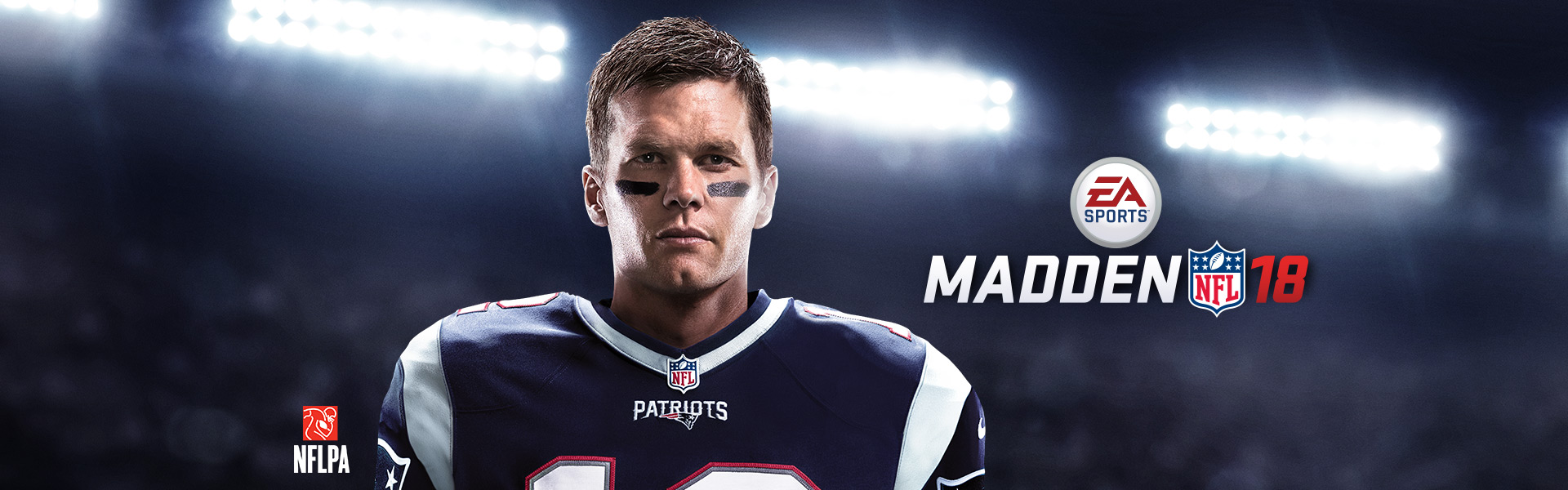 Madden NFL 18 logo with front view of Tom Brady in Patriots uniform