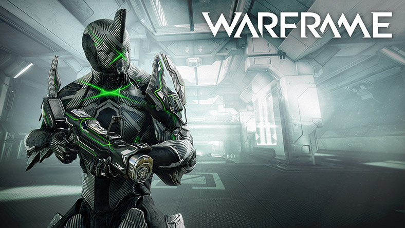 Warframe, A robot faces forward with a gun inside of a ship.