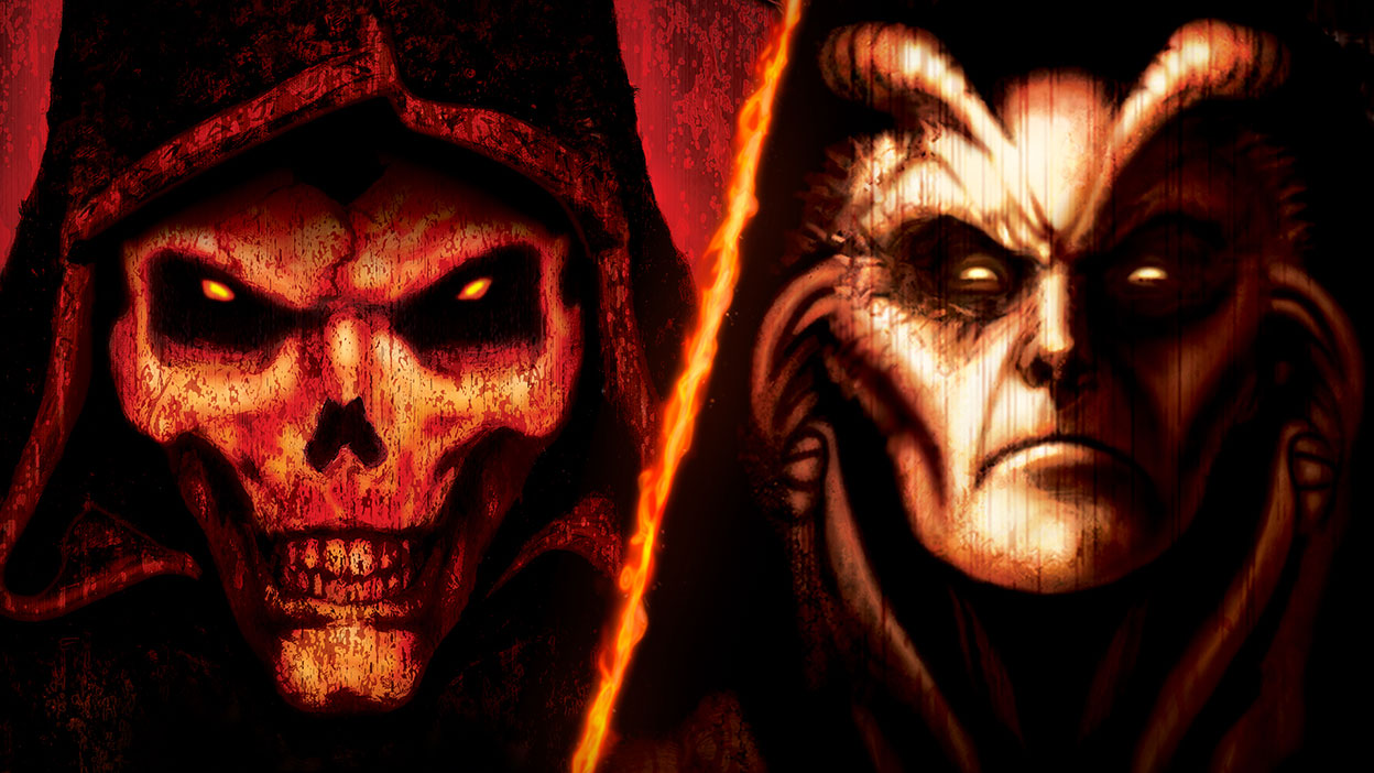A skull with glowing red eyes beside Baal the Lord of Destruction.
