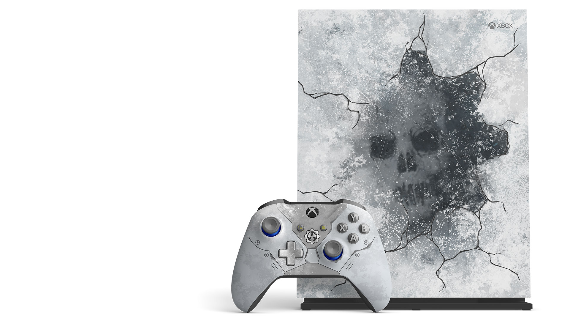 Xbox One X Gears 5 Limited Edition console on a vertical stand with the Xbox Wireless Kate Diaz Limited Edition controller