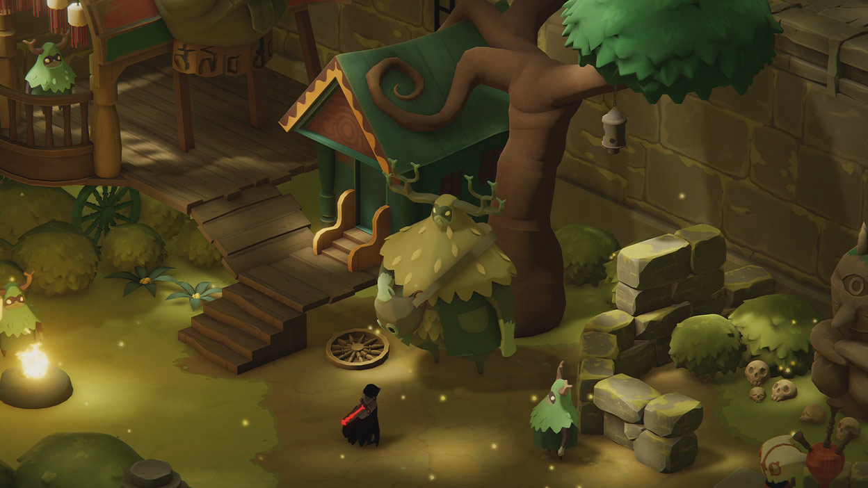Player talking to two other characters outside a house by a large tree