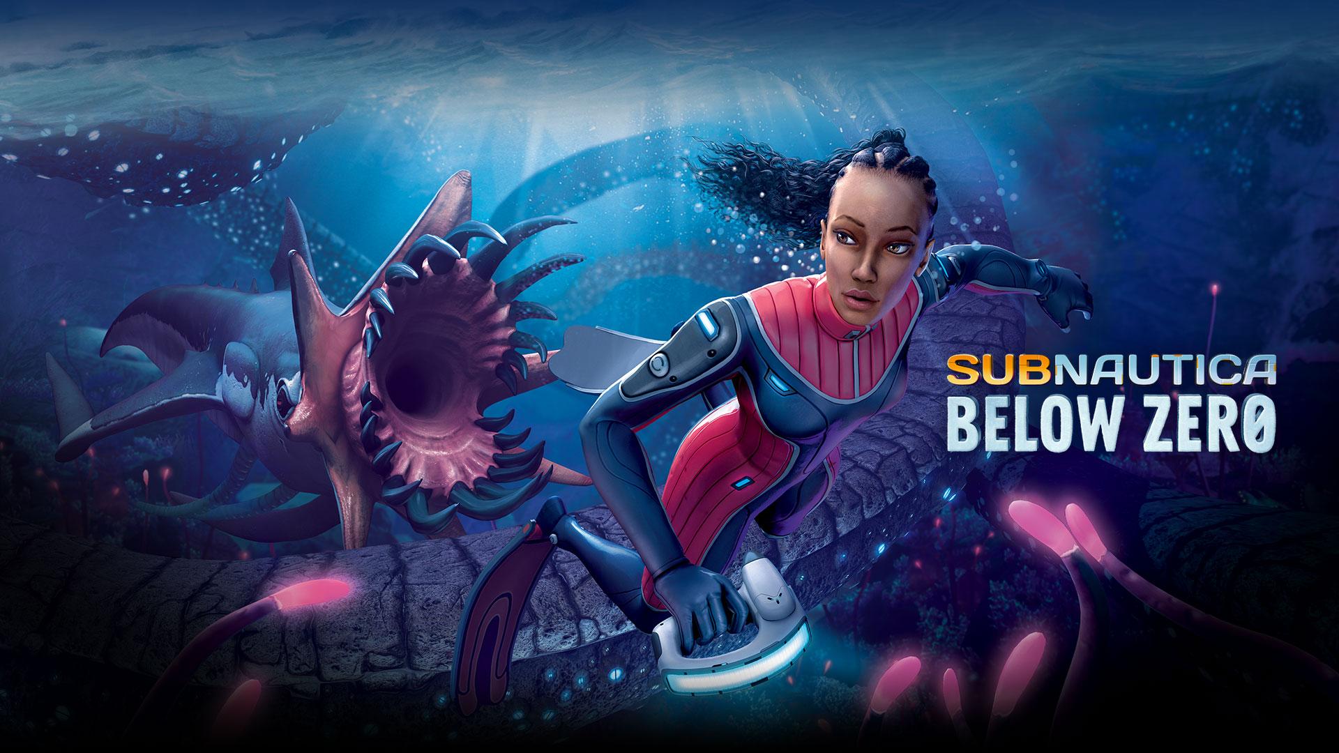 Subnautica Below Zero, Robin swims away from an underwater monster.