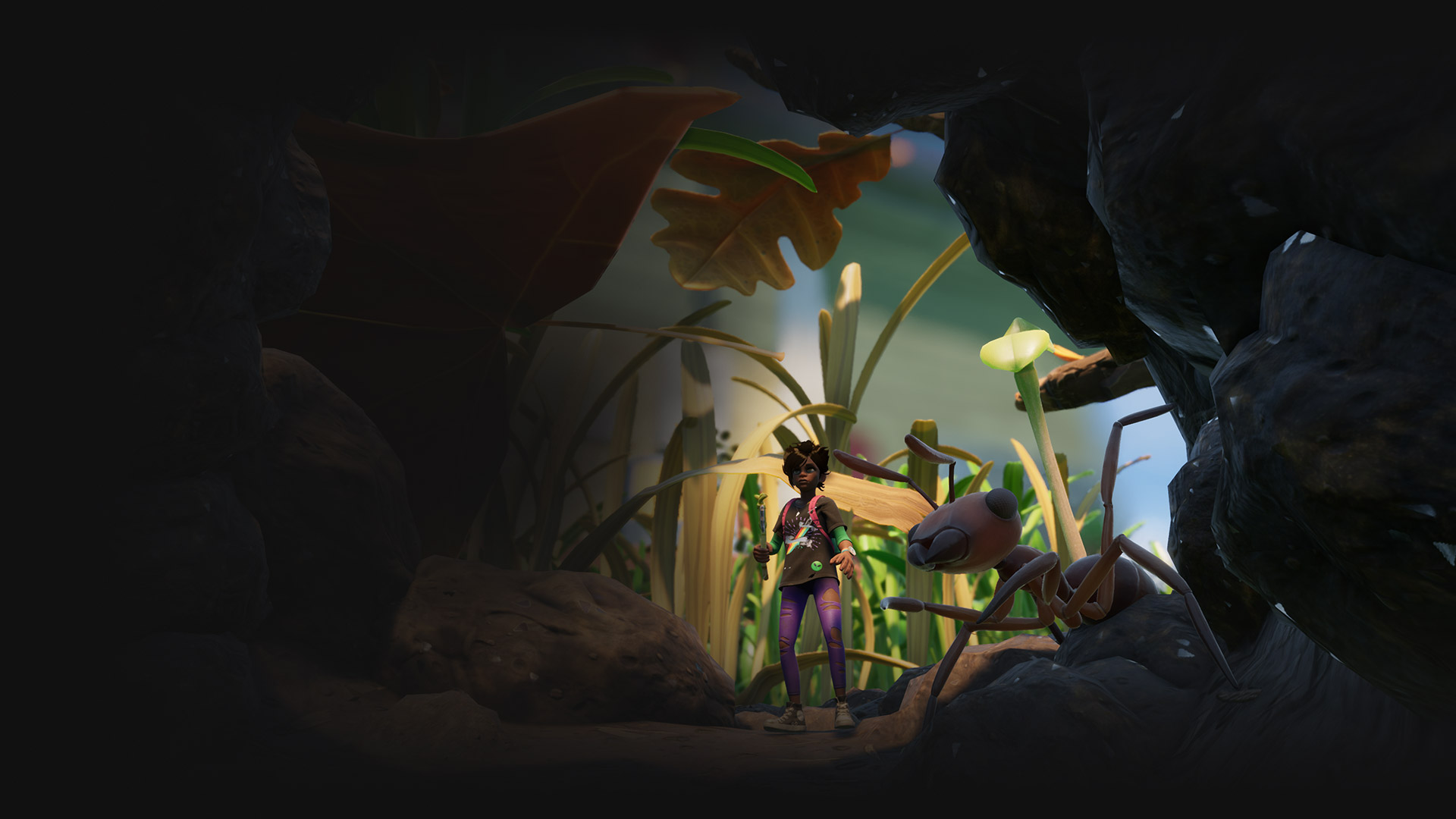 A character wielding a stick encounters a giant ant in a scene from Grounded