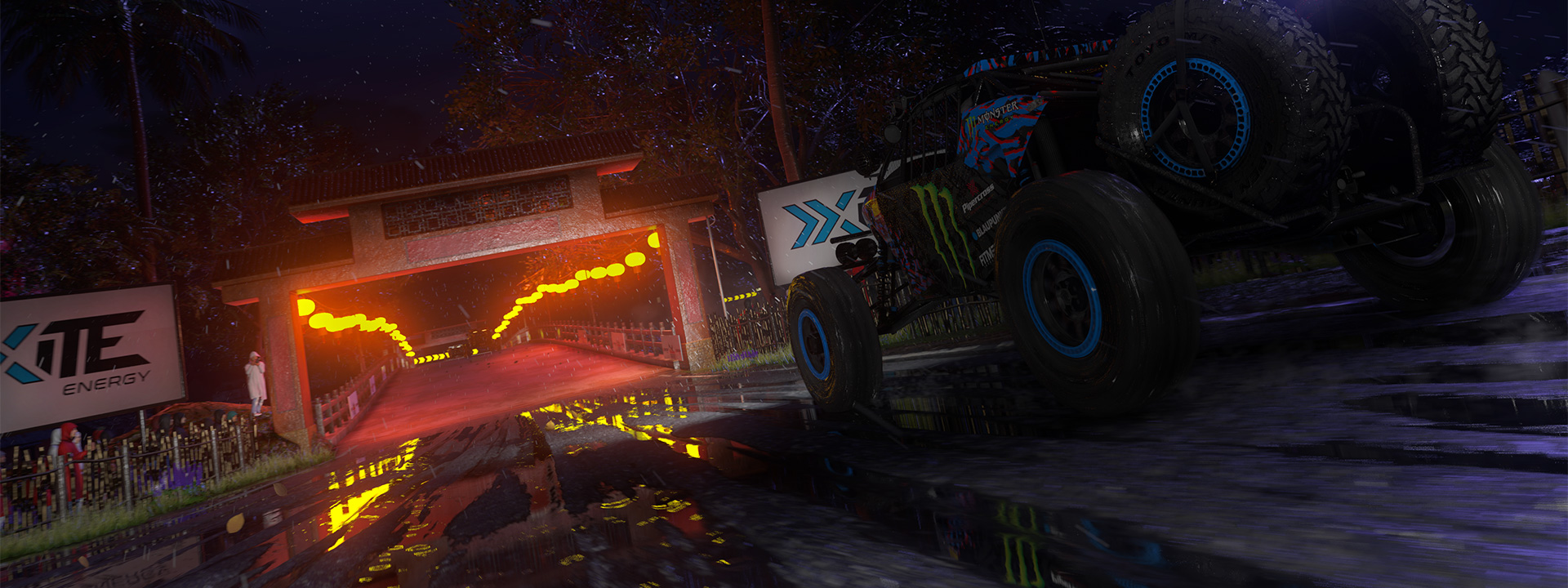 Monster truck from DIRT 5 about to enter a tunnel