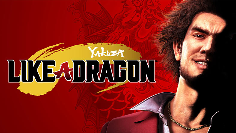Yakuza: Like a Dragon. Ichiban Kasuga flashes a smile, half of his face hidden in darkness. An illustration of a dragon rises behind him.