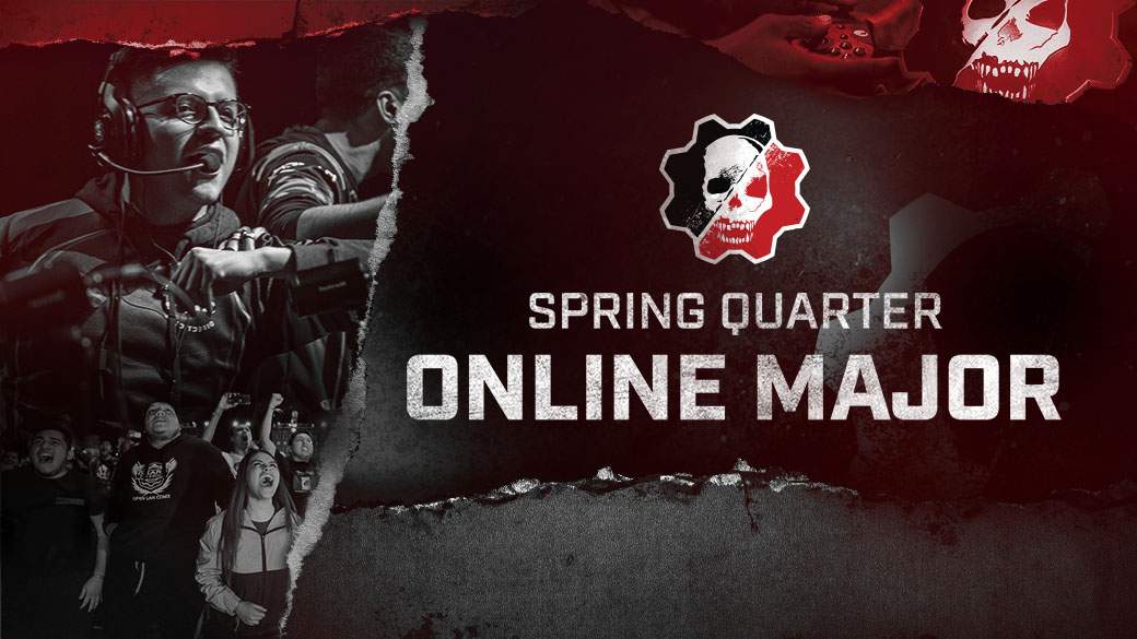 Gears 5 logo, Spring Quarter Online Major, Esports player and fans cheering