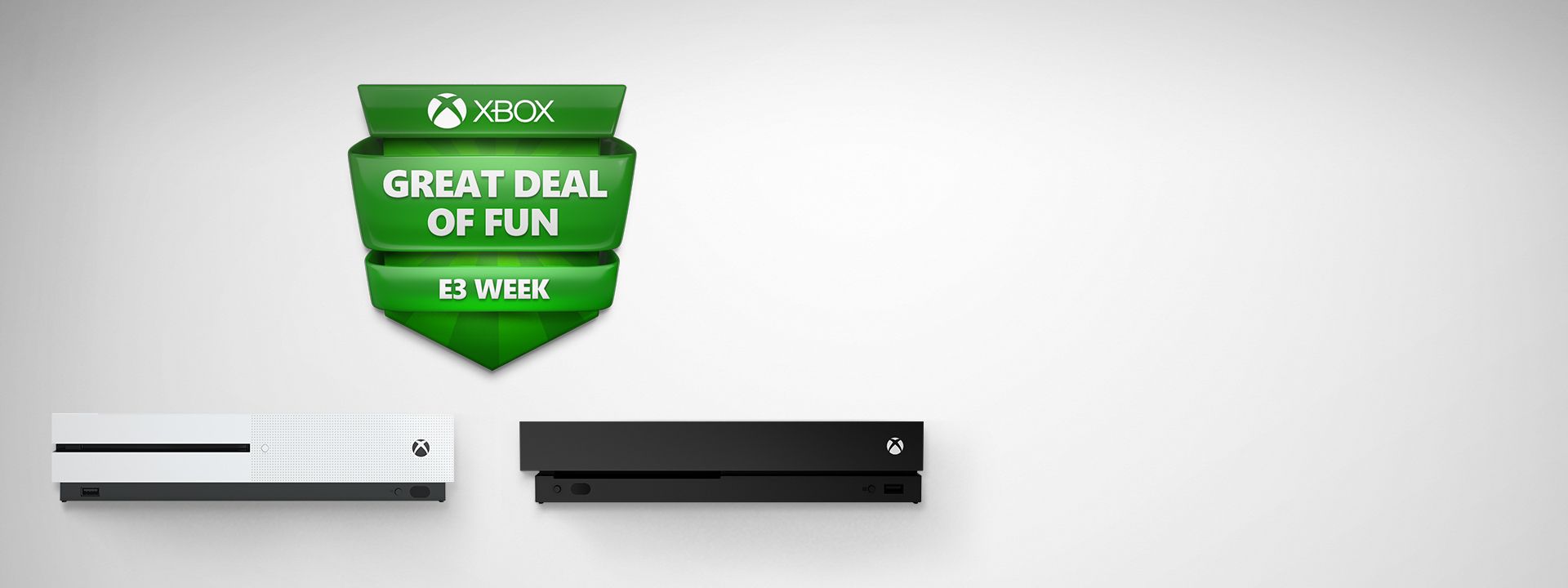 Xbox One S and Xbox One X with Big Fun Deal logo