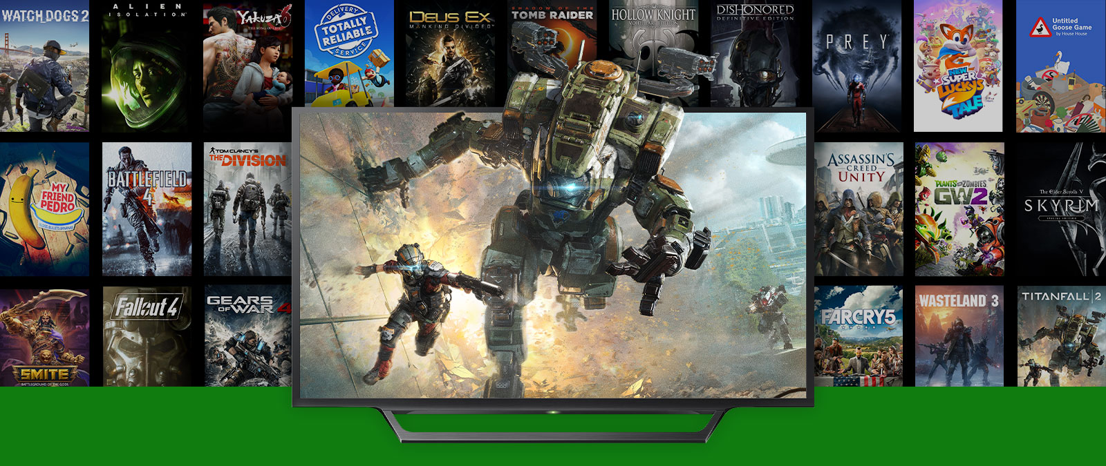 Titanfall 2 characters leap out of a TV with multiple boxshots of backward compatible games FPS boosted games in the background