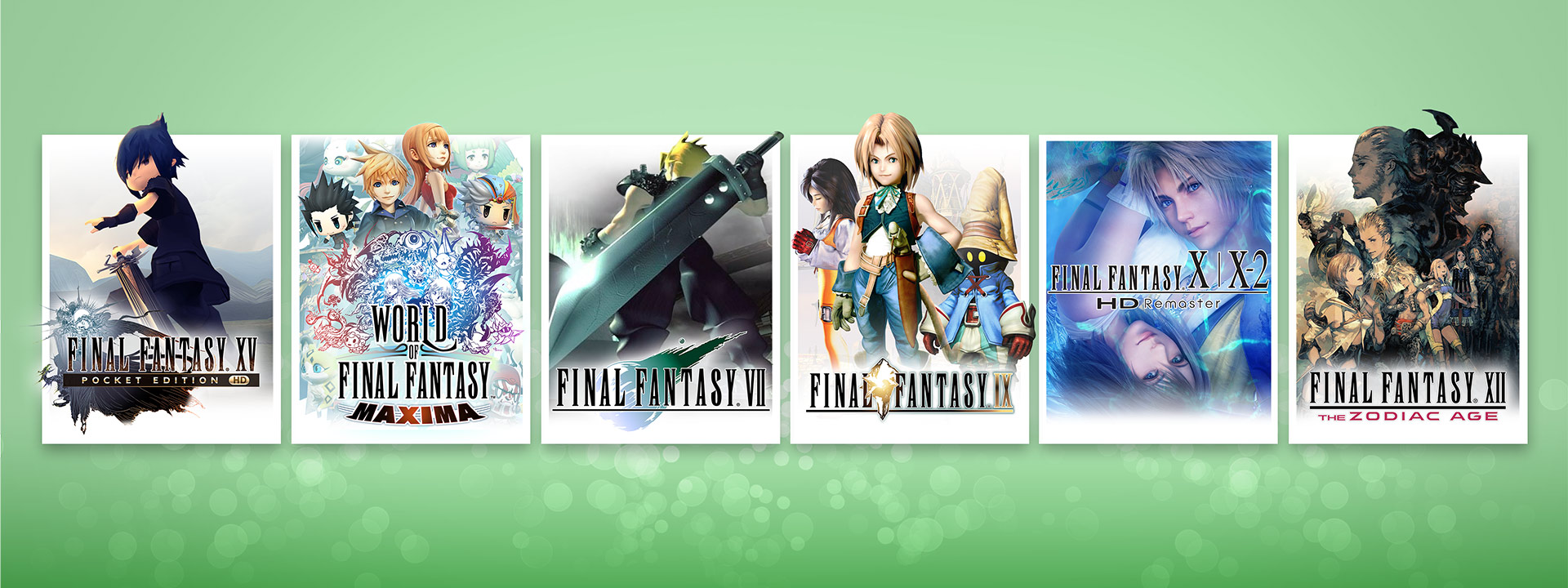 Ilustrações das caixas dos jogos FINAL FANTASY XV POCKET EDITION HD, WORLD OF FINAL FANTASY MAXIMA, FINAL FANTASY VII, FINAL FANTASY IX, FINAL FANTASY X | X-2 HD Remaster e FINAL FANTASY XII THE ZODIAC AGE
