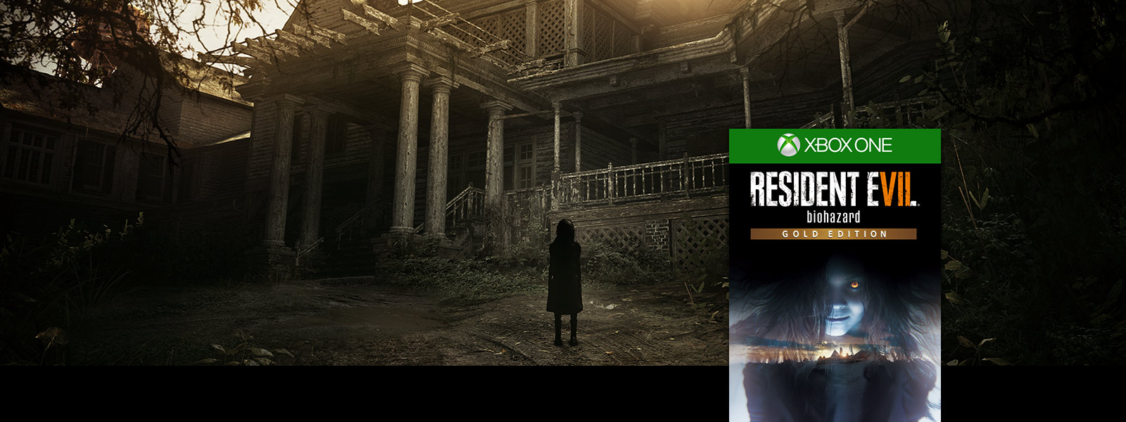 Resident Evil 7 biohazard gold edition box shot over scene of spooky girl standing in front of haunted house