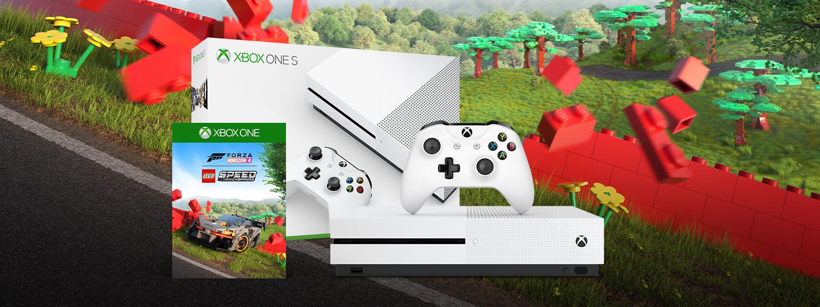 Xbox One S Forza Horizon 4 LEGO® Speed Champions bundle art in front of Forza Horizon Lego landscape