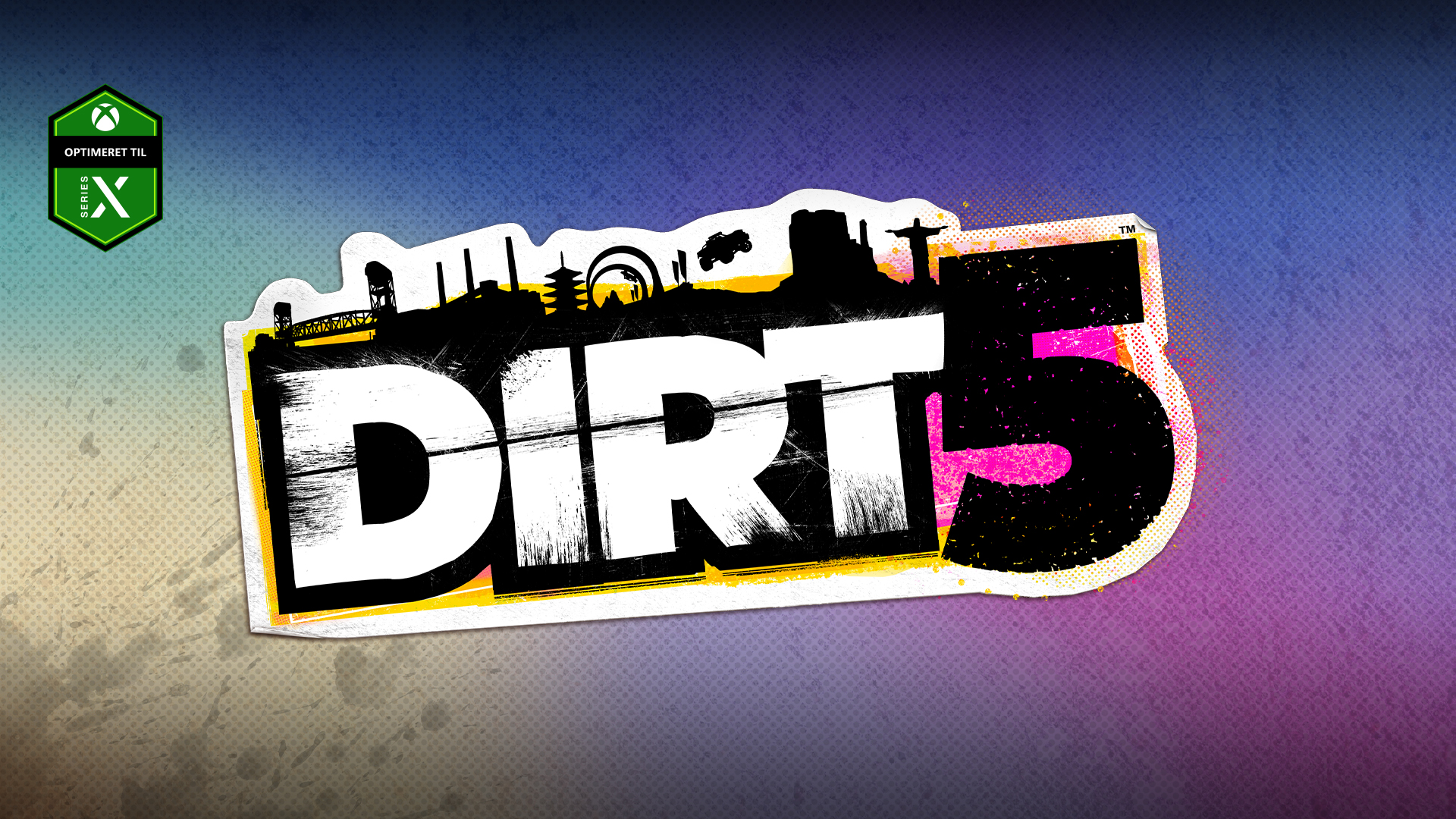 Optimeret til Series X-logo, DIRT 5-logo på en farverig baggrund