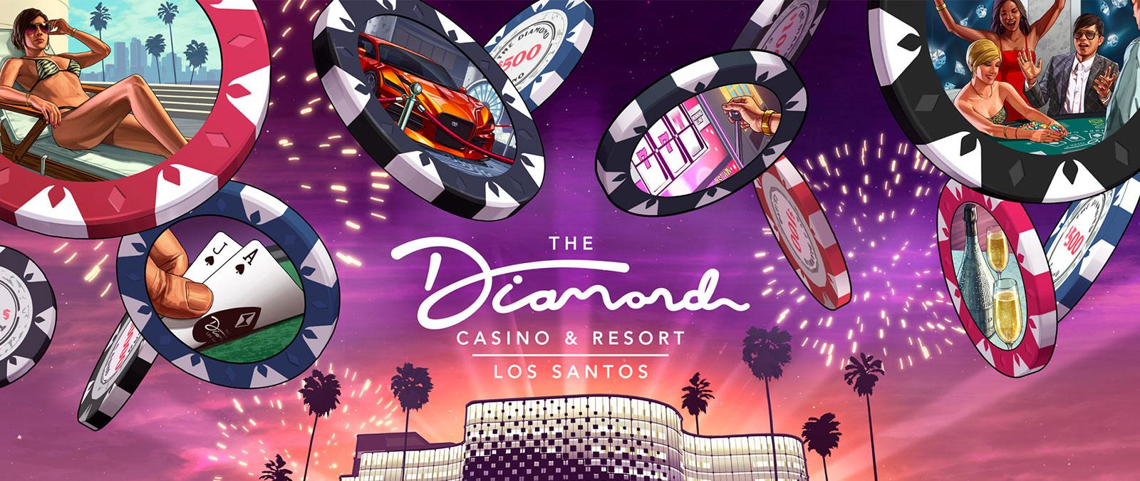 Het Diamond Casino & Resort, Los Santos-logo, vooraanzicht van een gebouw met palmbomen, vuurwerk en vallende casinofiches met diverse beeltenissen erop