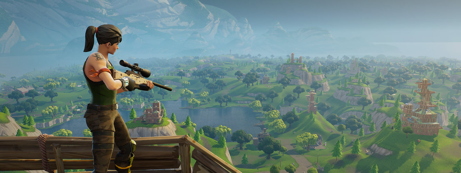 Character stands on a sniper perch holding a sniper rifle