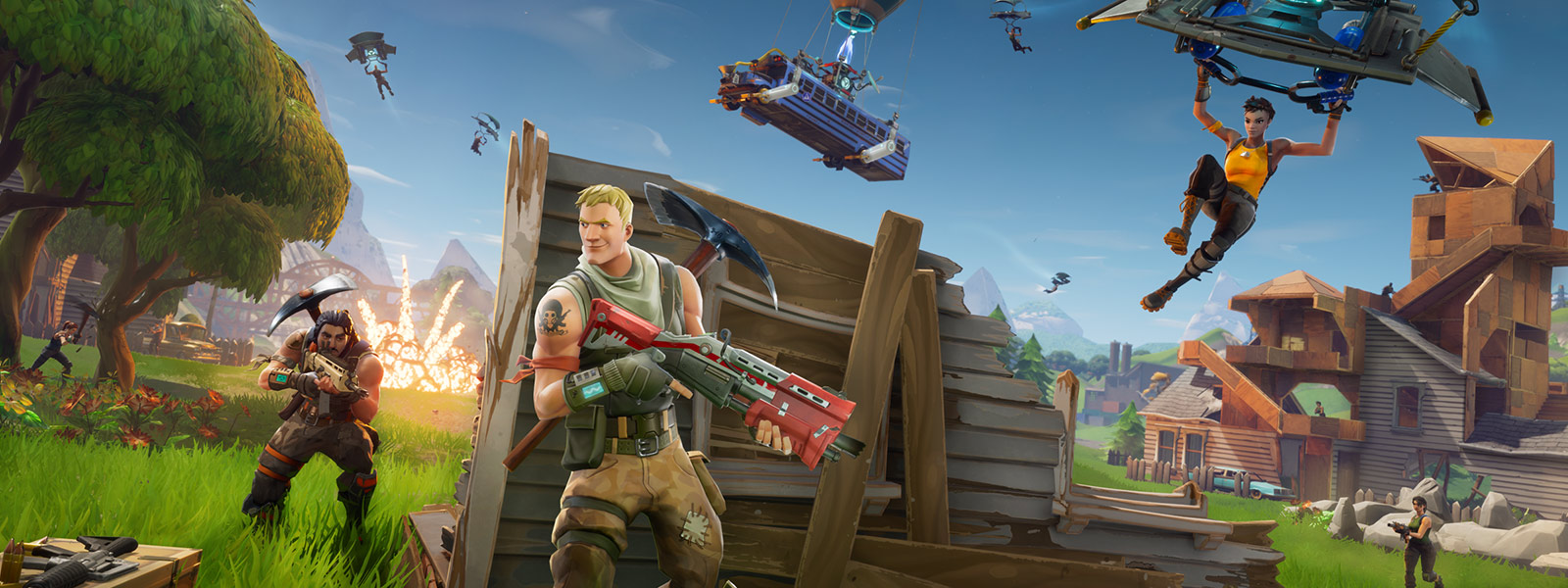 Game character hiding behind a partially destroyed wall as other players land after jumping from the battle bus