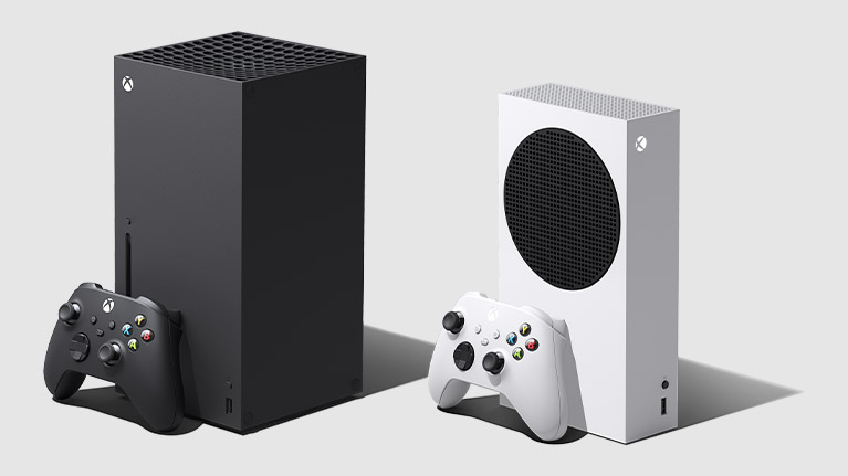 Xbox Series X and S consoles on a grey and white background
