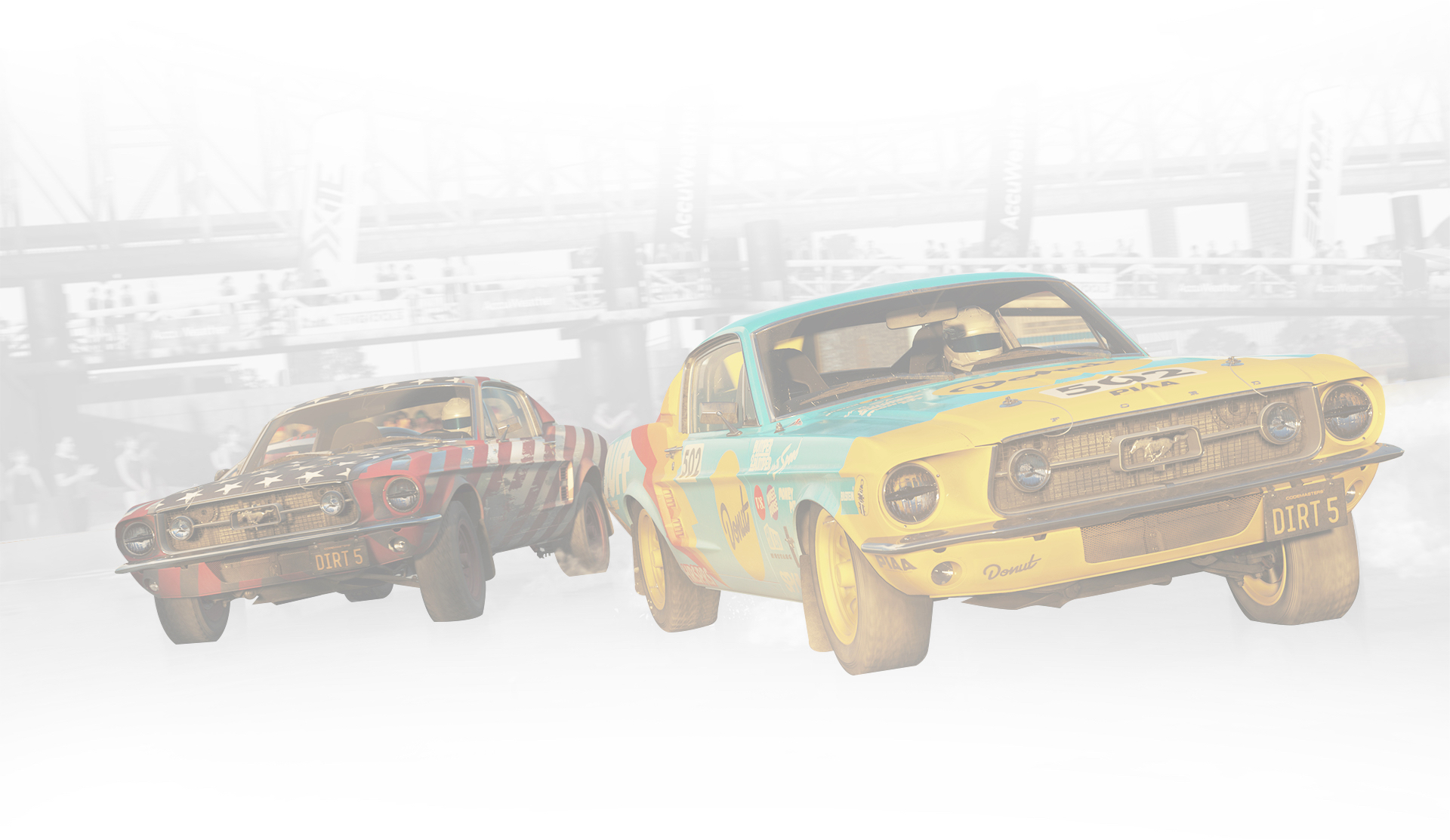 DIRT 5. Due Ford Mustang corrono sotto un cavalcavia.