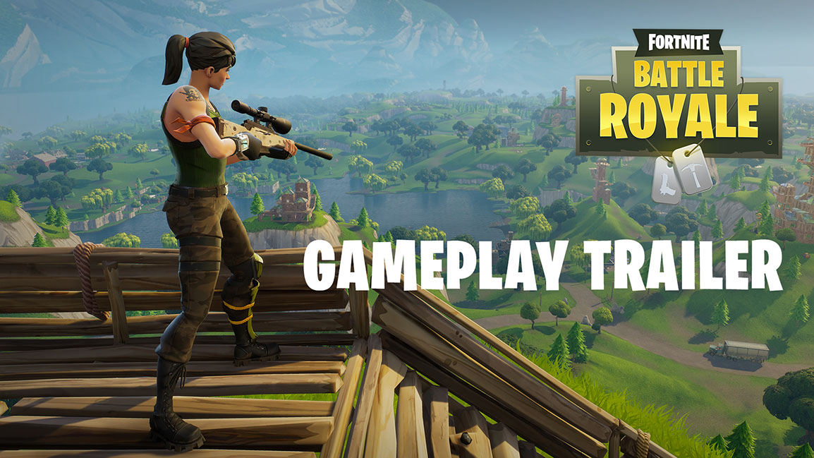 Fortnite Battle Royale Gameplay Trailer, Character on a building holding a sniper rifle