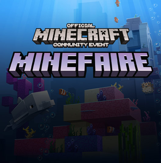 Text reading Official Minecraft Community Event and Minefaire over a screenshot of Minecraft showing an underwater scene