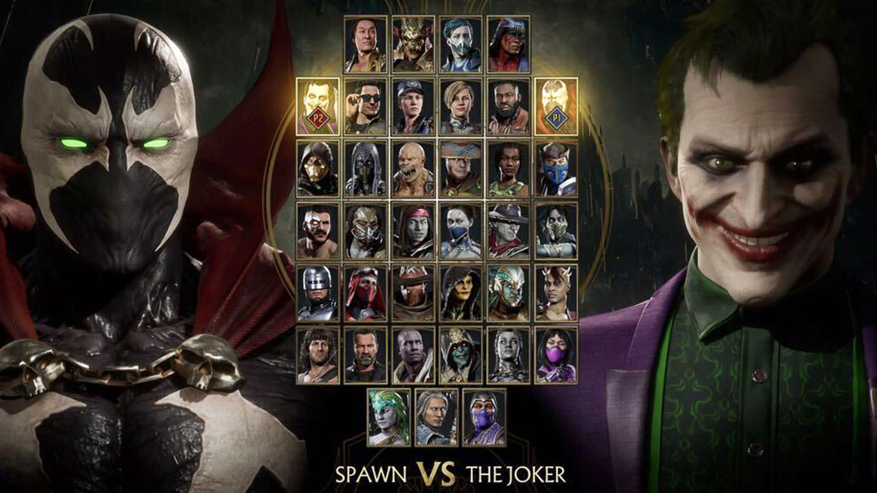 Spawn and Joker, a roster shot of all the Mortal Kombat 11 characters.