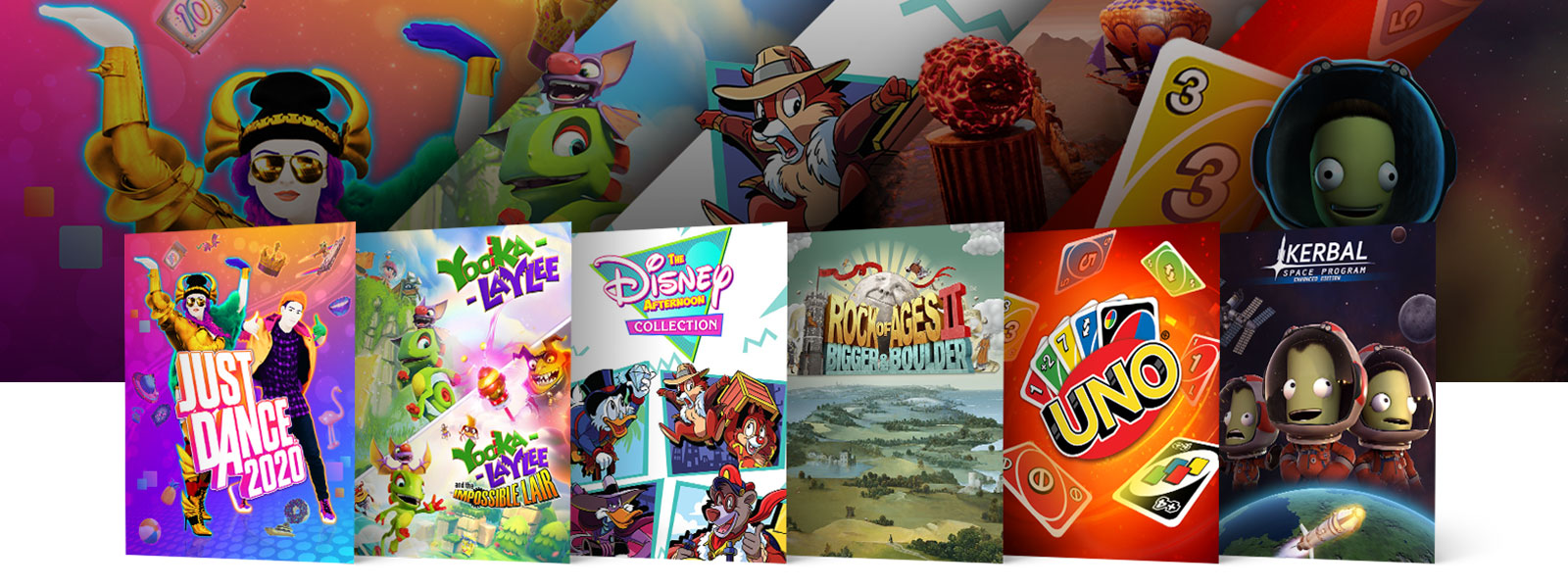 A collage of scenes and box art from Xbox One games on sale. JUST DANCE 2020, Yooka-Laylee + Yooka ATIL Bundle, The Disney Afternoon Collection, Rock of Ages 2: Bigger and Boulder, UNO, and Kerbal Space Program