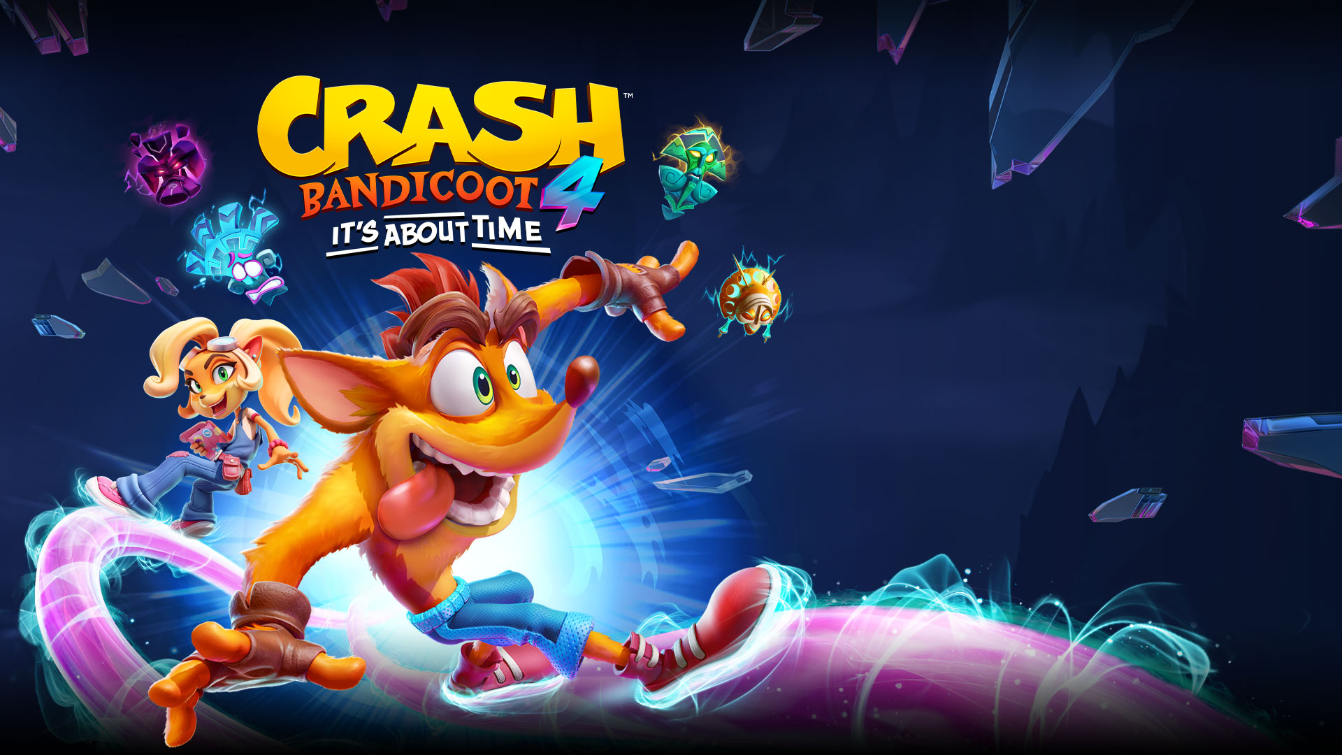 Crash Bandicoot 4, It's About Time, Crash y Coco se deslizan sobre ondas moradas de energía.