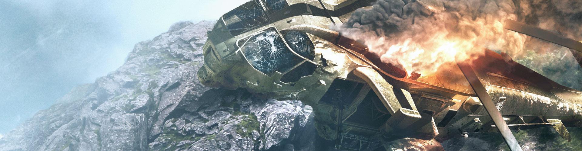 Achtergrond van gecrashte helikopter in de bergen