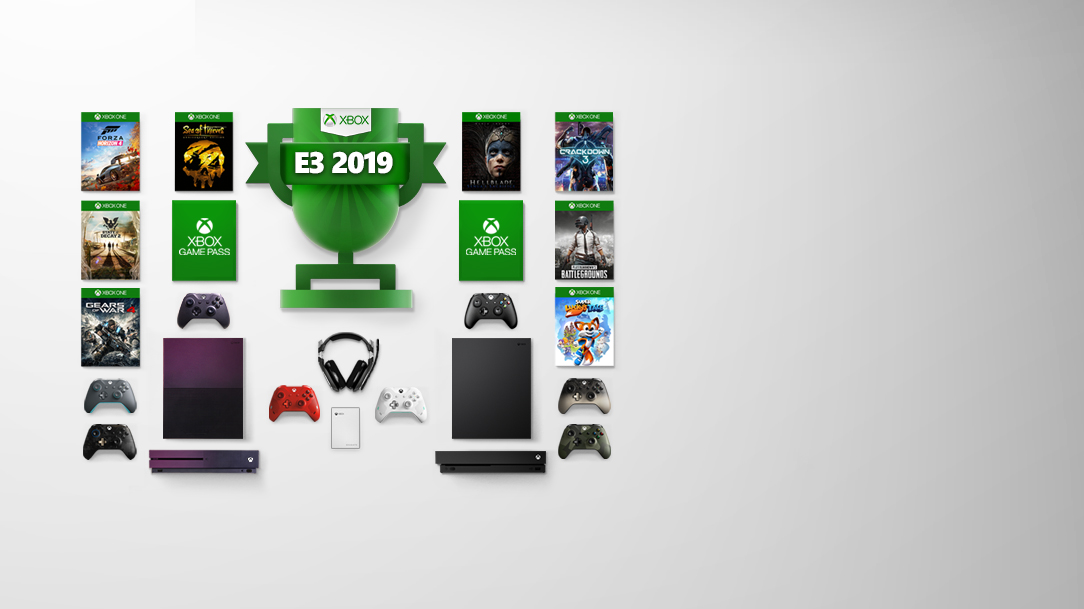 An Xbox Deals Unlocked badge surrounded by consoles, accessories, and games. The left side of the image shows packshots of Forza Horizon 4, Sea of Thieves, State of Decay 2, Xbox Game Pass, and Gears of War 4, with controllers and the Fortnite Special Edition Xbox One S beneath them. The right side of the image shows packshots of Hellblade: Senua's Sacrifice, Crackdown 3, Xbox Game Pass, PLAYERUNKNOWN'S BATTLEGROUNDS, and Super Lucky's Tale, with controllers and the Xbox One X beneath them.