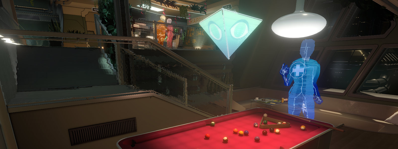 AI view of character next to pool table