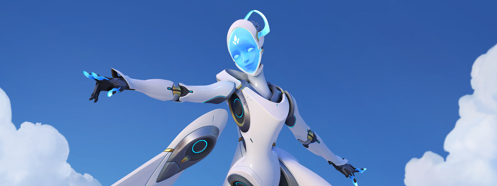 Overwatch character Echo gracefully floats in the air with their arms outstretched.