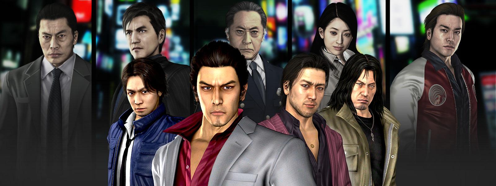 Kazuma Kiryu, Masayoshi Tanimura, Shun Akiyama und Taiga Saejima posieren vor einer Collage aus Yakuza-Charakteren