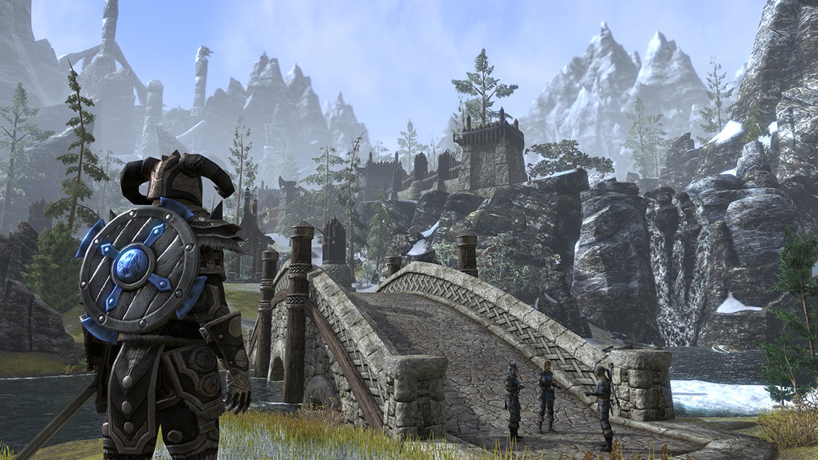 A fully armoured character stands in front of a bridge near the gate of a city in Skyrim