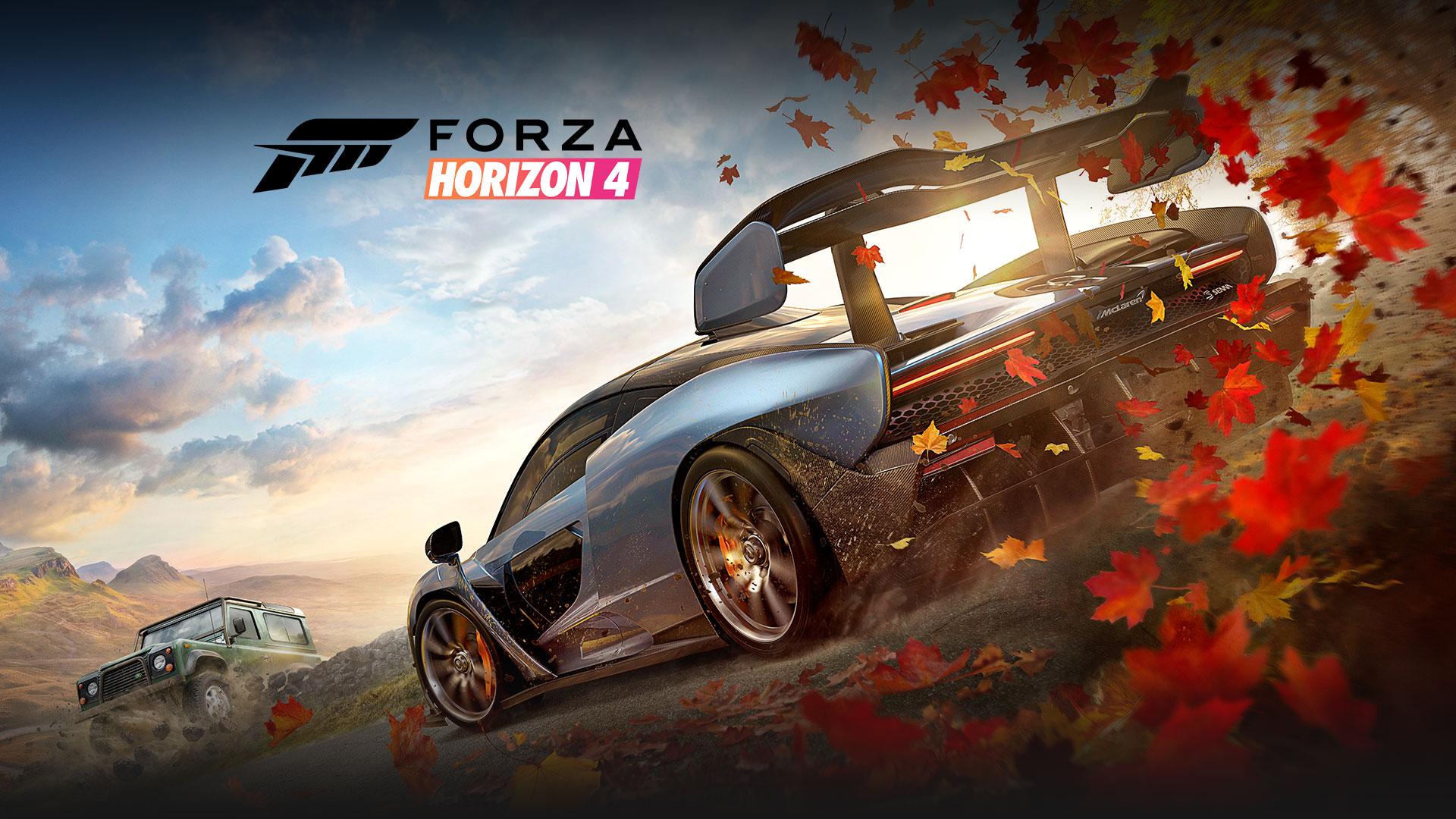 Forza Horizon 4, dois carros com folhas atrás de um deles