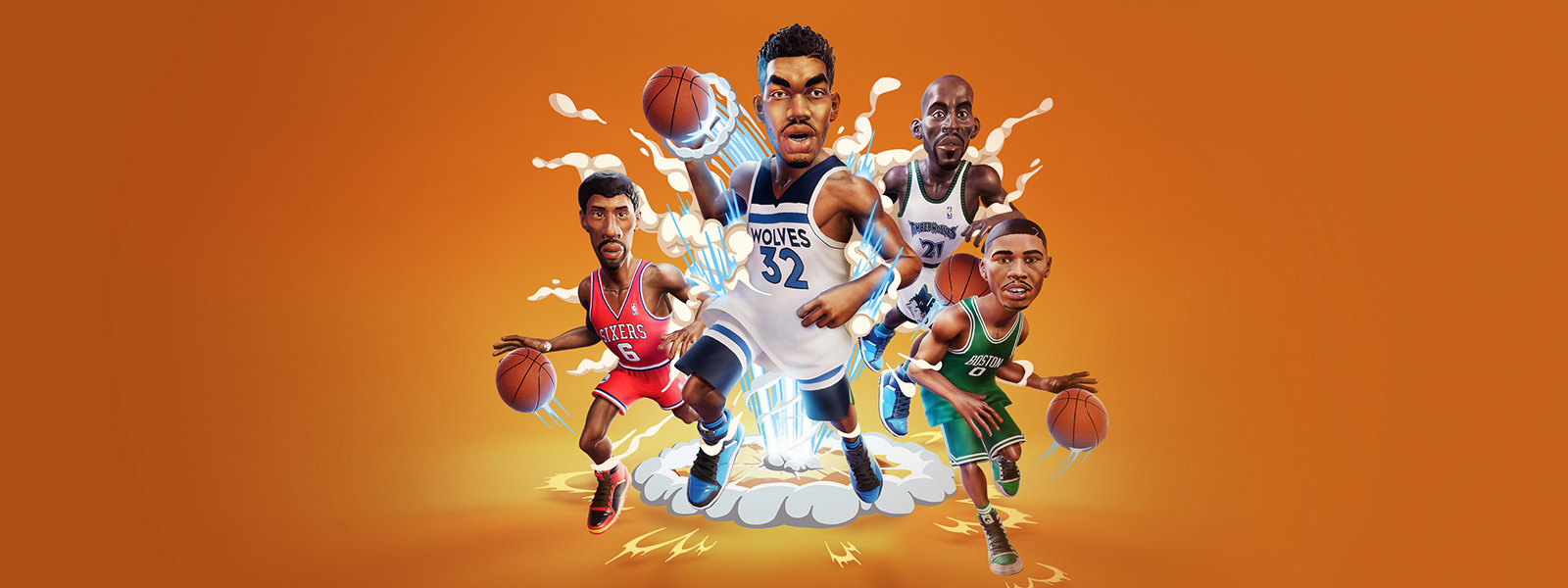 Front view of 4 Caricaturized basketball players