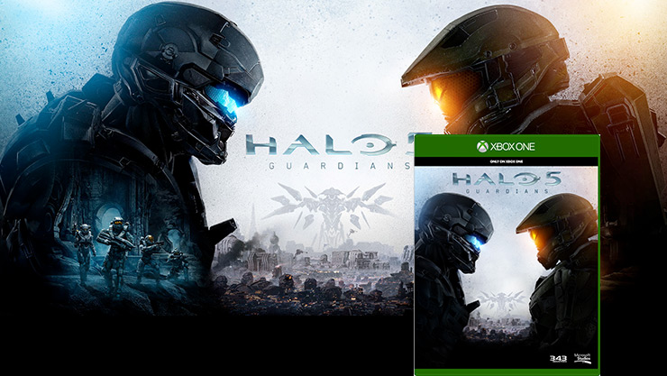 Two spartan facing each other with Halo: guardians box art