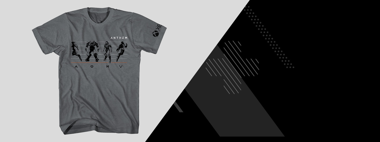 Anthem t-shirt with all 4 javelins on the front, beside a stylized xbox controller background