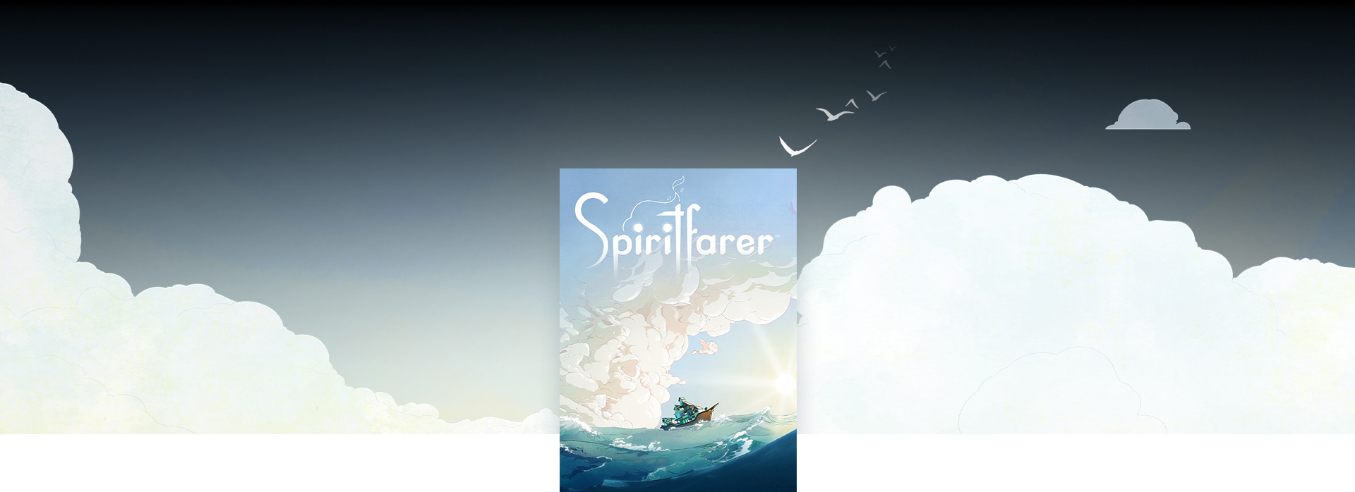 Spiritfarer boxshot, background of clouds and birds flying away