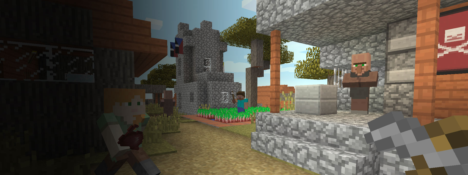 Multiple houses and Minecraft characters walking in the foreground.