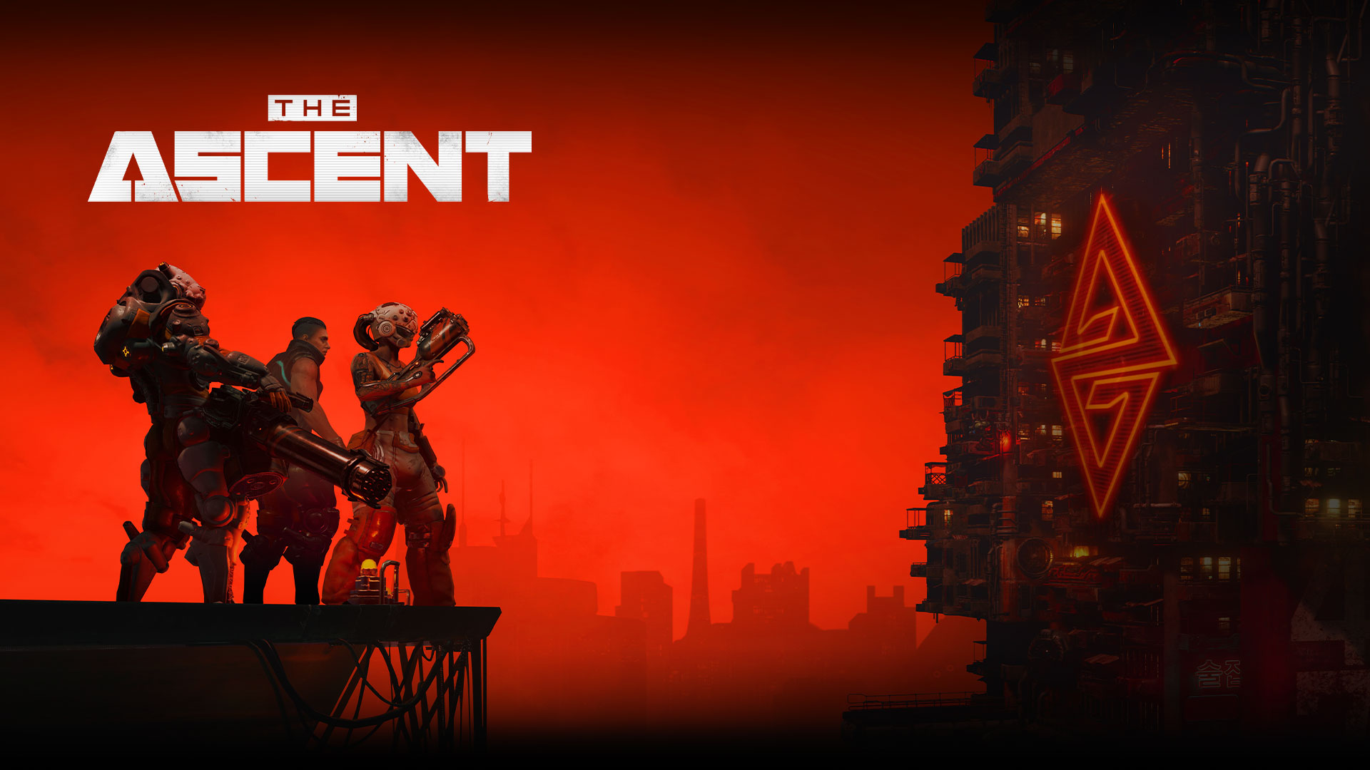 The Ascent, Three characters stand on a platform overlooking a large cyberpunk style industrial building