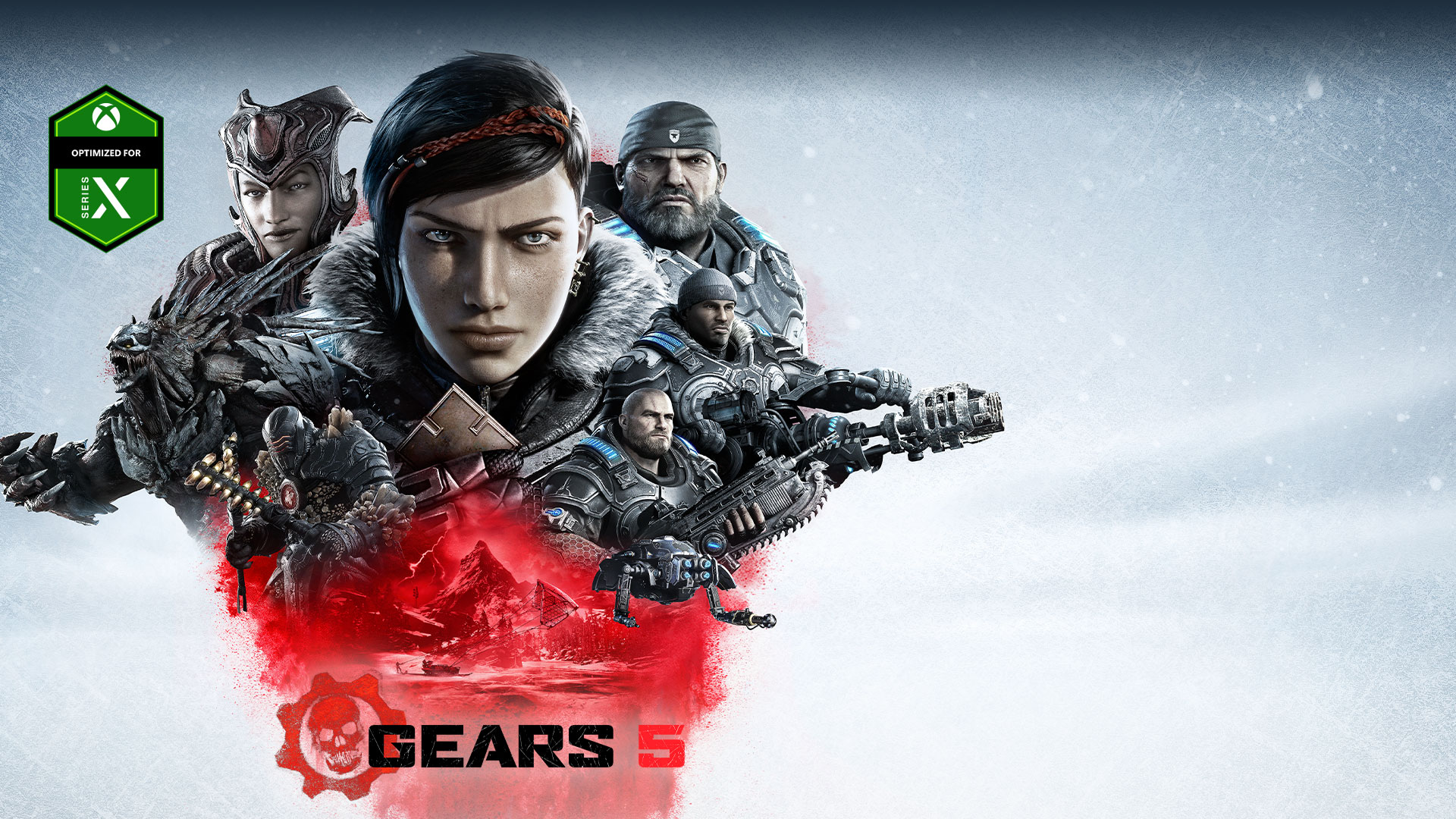 Optimized for Xbox Series X, Gears 5, Collage of Gears main characters with enemies above an image of Kait riding a skiff