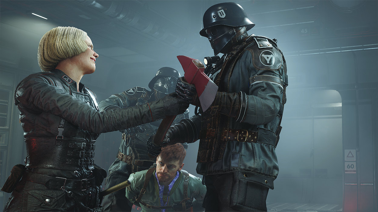 Frau Engel handing an axe to a soldier to execute a captured resistance member