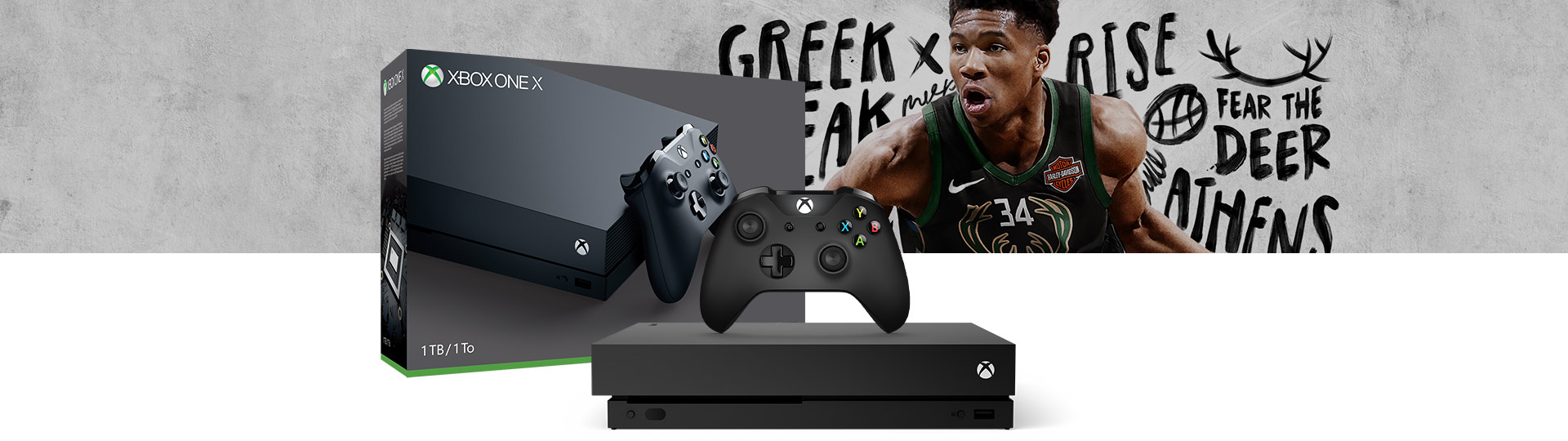 Xbox One X and Controller next to the Xbox One X NBA 2K19 1 terabyte product box
