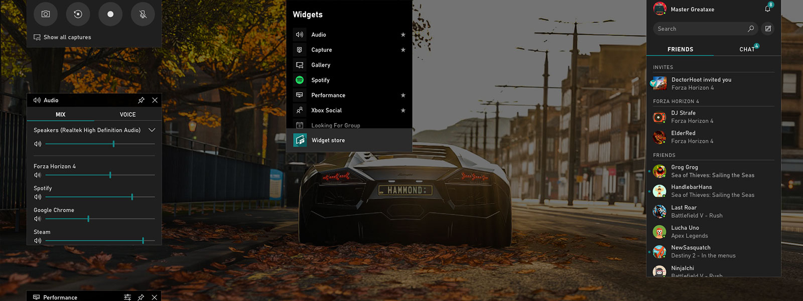 Screenshot of the default widgets on the Xbox Dash