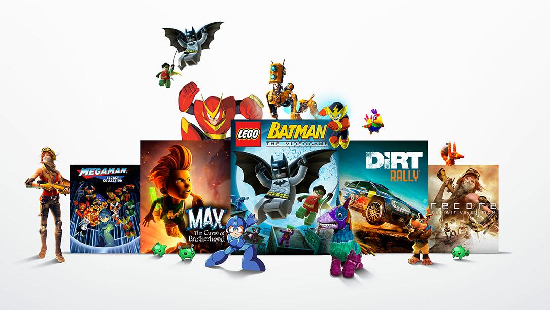 Jeux du Xbox Game Pass avec des personnages qui montent dessus