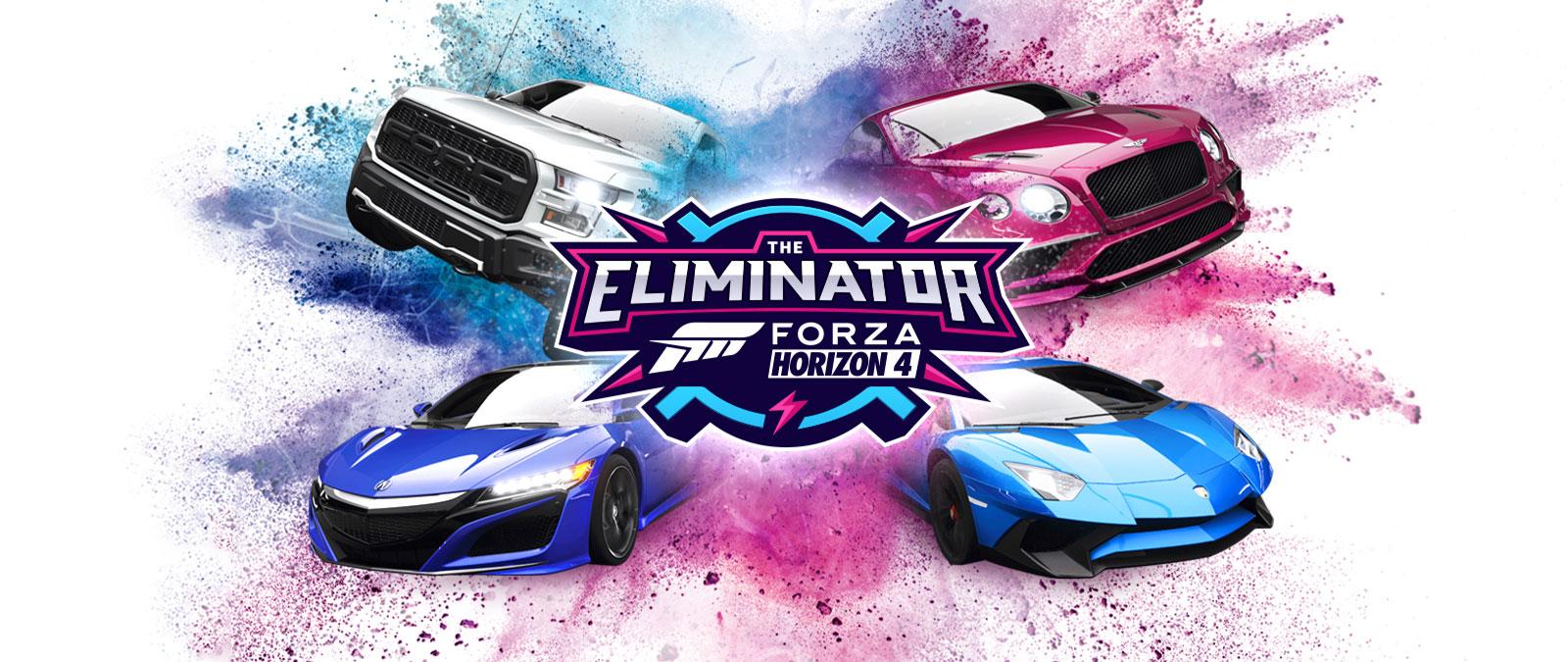 The Eliminator, el logo de Forza Horizon 4, cuatro autos con polvo azul y rosa a su alrededor