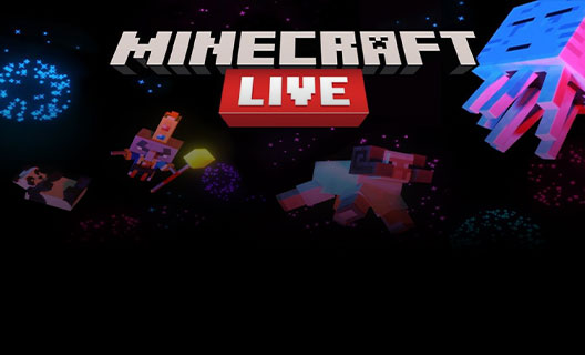 The Arch-Illager pursues a Minecraft ram among fireworks and the Minecraft Live logo.