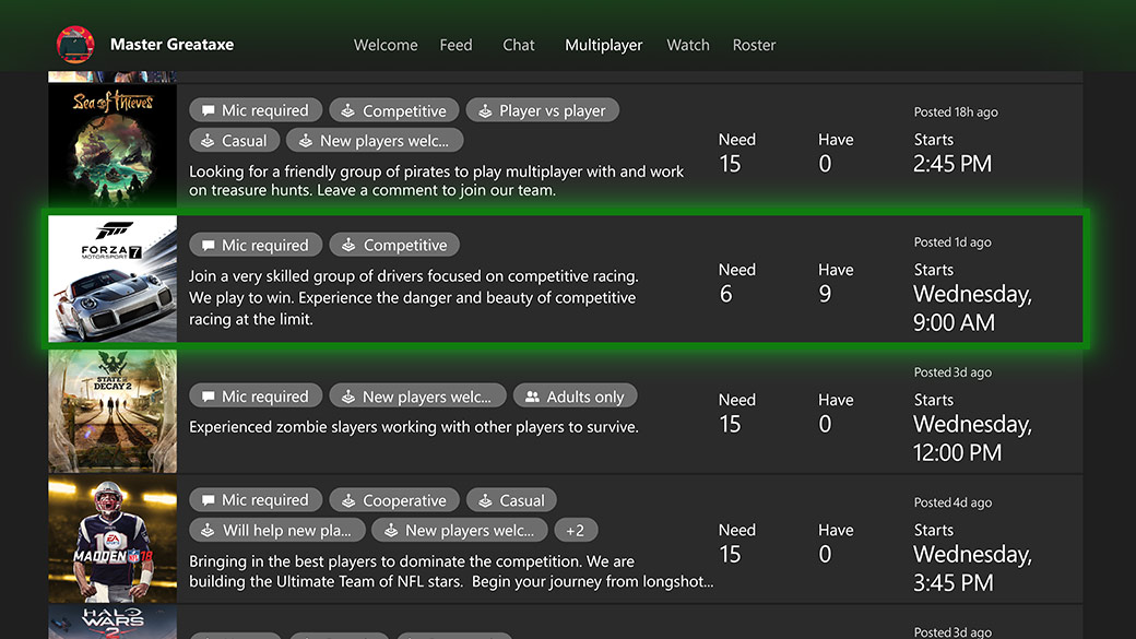 List of clubs to join on the Xbox Dashboard