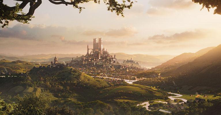 En stad med höga byggnader och en tät skog i förgrunden.