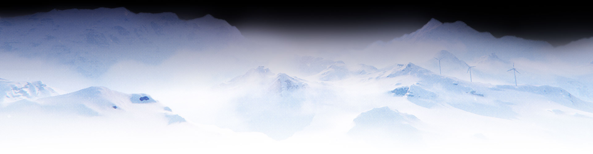 Snowy mountains shrouded in darkness