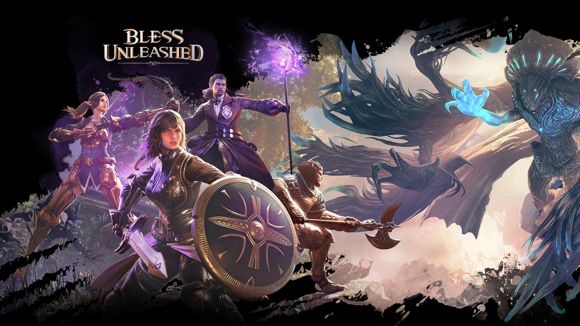 Four characters from Bless Unleashed in purple light about to fight a monster glowing blue